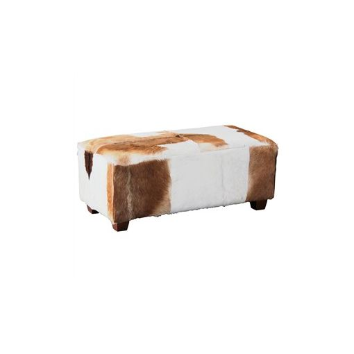 Rhyno Goat Hide Upholstered Mahogany Timber Ottoman - Large
