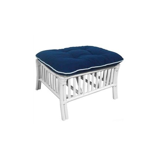 Sanibel Rattan Ottoman with Cushion - White/Navy