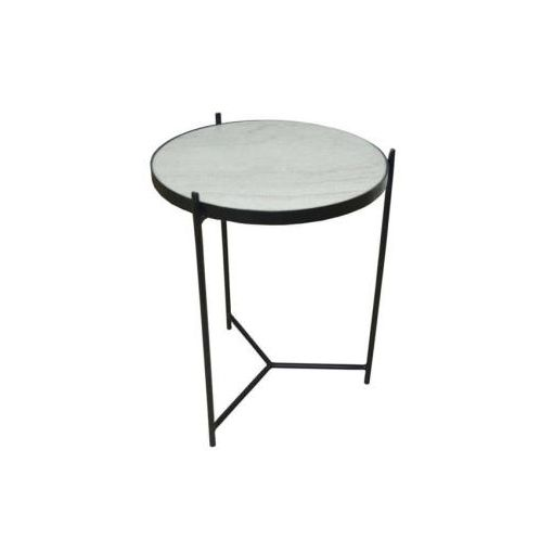 ARAVALI ROUND SIDE TABLE 44DIAX55CM-MARBLE TOP/MAT