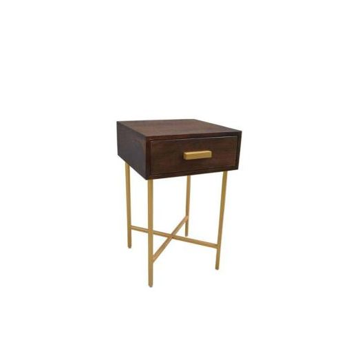 BONNIE SIDE TABLE 1 DRAWER 38X38X61CM-TOP DARK CAF