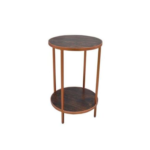 BONNIE ROUND SIDE TABLE 40DIAX61CM-DARK STAIN MANG
