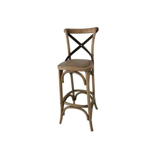 CROSS METAL LEG BAR STOOL ( WITH BACK, HEIGHT 66 C