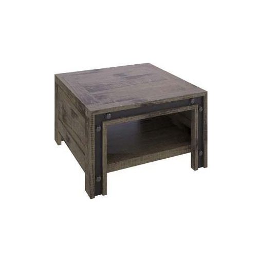 WAREHOUSE LAMP TABLE WITH SHELF- 65X65X40CM - ROUG