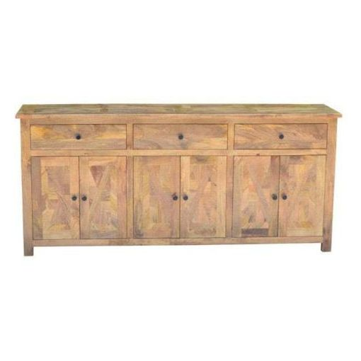 BARKELY PARQUETRY BUFFET 3 DRAWERS 6 DOORS- MANGO WOOD IN AMERICAN OAK FINISH