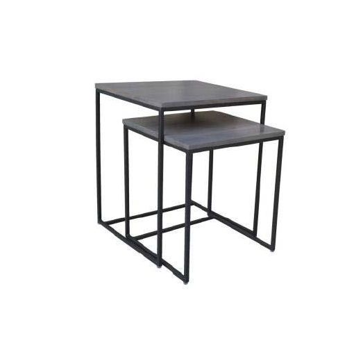 MATRIX NESTING TABLE SET OF 2-GREY STAIN