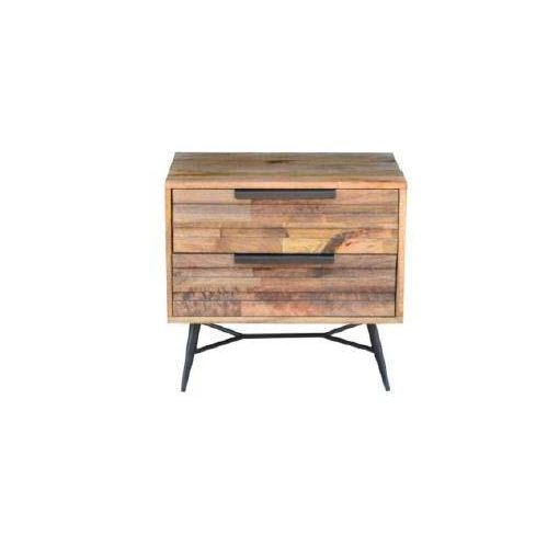 LEXINGTON BED SIDE 2 DRAWER  60 X 40 X 55CM-BURNT