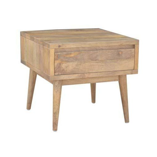 RETRO SIDE TABLE 1 DRWR - 55X55X50 - LIGHT OAK