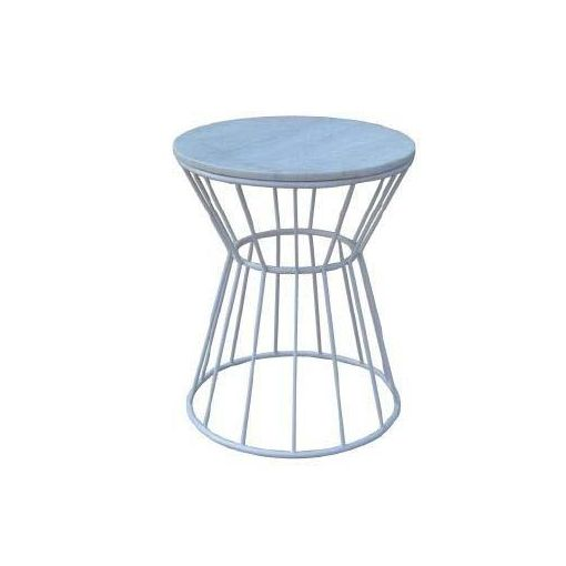 RIYA SIDE TABLE MARBLE TOP DIA 45 X 55 CM-WHITE MA