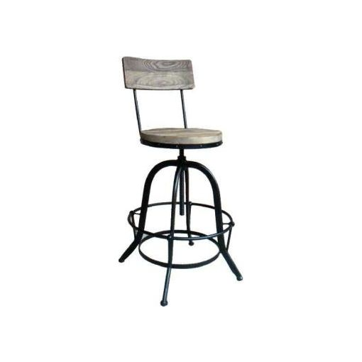 INDUSTRIAL STOOL WITH BACK - 33X33X62-80CM+BACK HE