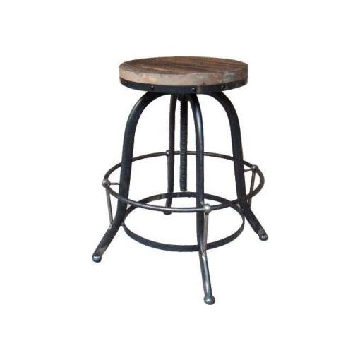 INDUSTRIAL STOOL WITHOUT BACK - 33X33X62-80CM-BLAC