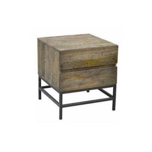 PADDINGTON BEDSIDE 2 DRAWERS 50X50X55CM-DISTRESS N
