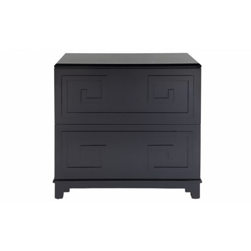 GREEK KEY BEDSIDE TABLE - NAVY