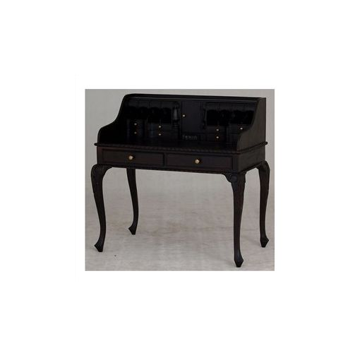 Queen Ann Solid Mahogany Timber Secretarys Desk - Chocolate