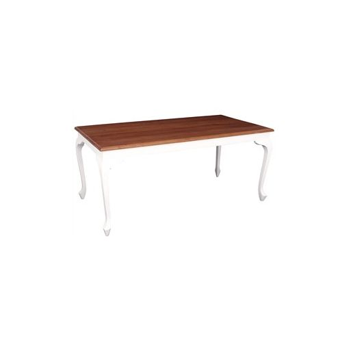 Queen Ann Solid Mahogany Timber 180cm Dining Table - White/Caramel