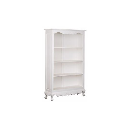Queen Ann Solid Mahogany Timber Bookcase - White