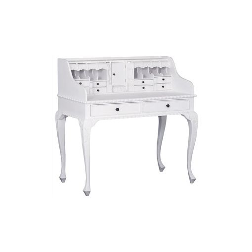 Queen Ann Solid Mahogany Timber Secretarys Desk - White