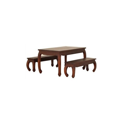 Liam Solid Mahogany Timber 3 Piece 150cm Dining Set - Mahogany