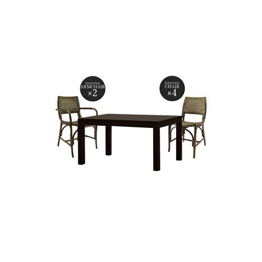 Austin Mahogany Dining Table with 2 Armchairs & 4 Chairs Set