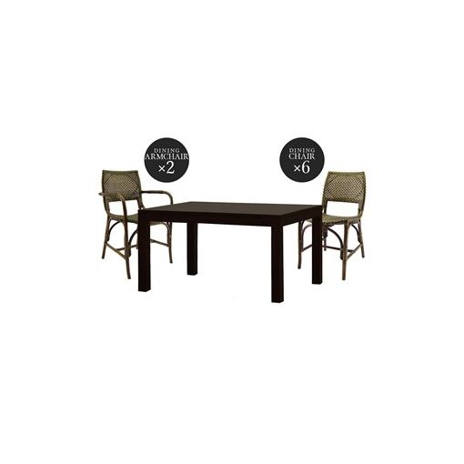 Austin Mahogany Dining Table with 2 Armchairs & 6 Chairs Set