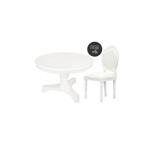 Queen Ann 7 Piece Mahogany Timber Round Dining Table Set, White