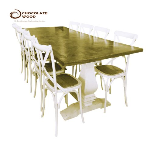 Online Dining Package  Table with 8 White Oak Cross Back Chairs