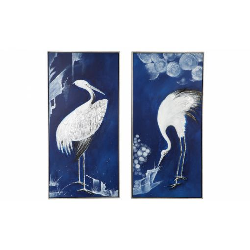 INDIGO CRANE WALL ART - SET OF 2