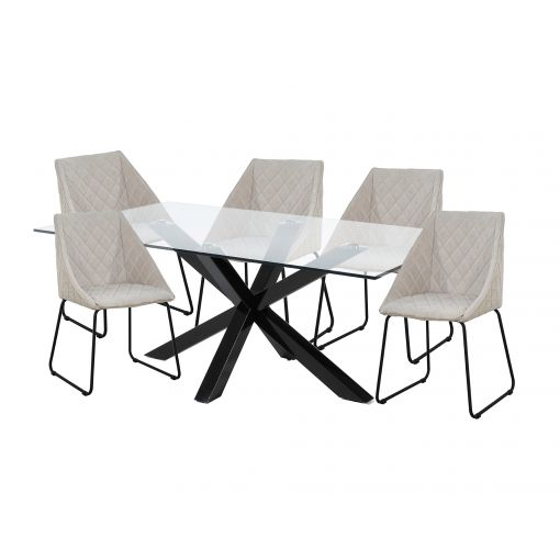 MESSI DINING SET - BLACK LEGS, CLEAR TOP TABLE + 6 BEIGE DINING CHAIRS