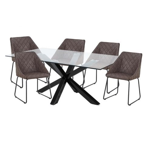 CHEAP CLEAR TOP TABLE + 6 BROWN DINING CHAIRS IN SYDNEY