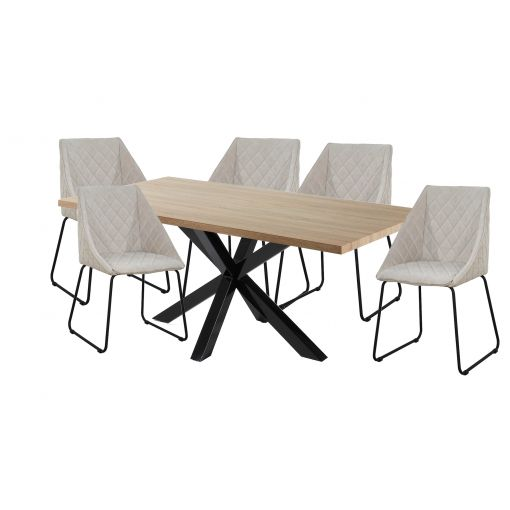 Cheap SALE  TABLE + 6 BEIGE DINING CHAIRS