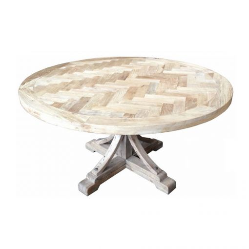 Gibraltar Round Dining Table Natural Top & 120cm Diameter