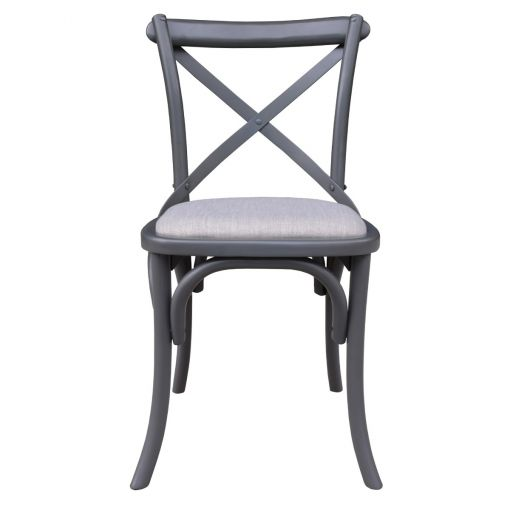 Straud Acacia Timber Cross Back Dining Chair, Grey