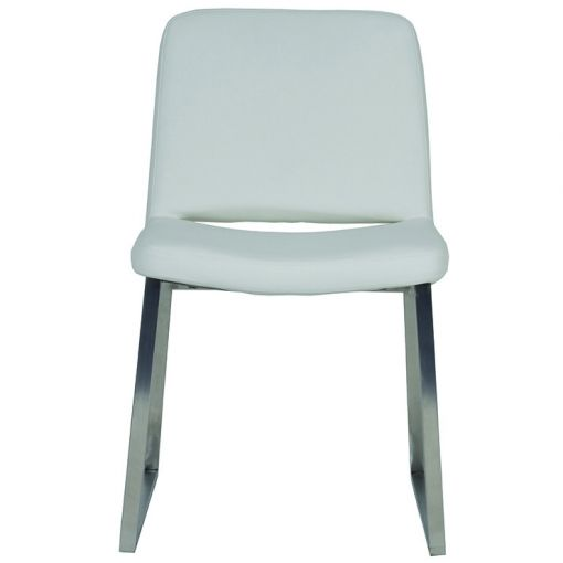 Elle Polished Stainless Steel Dining Chair (Leather)