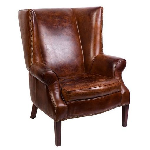 COMMODORE Aged Leather Arm Chair Lounge Sofa Couch