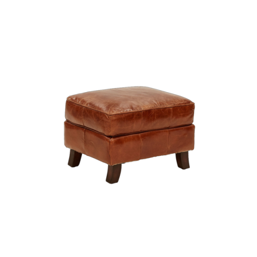 Mulan Leg Ottoman in Aged Leather