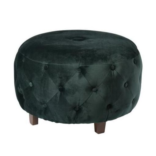 DARIA ARTICHOKE OTTOMAN POUF POUFFE STOOL FOOTSTOOL SIDE TABLE DARK GREEN VELVET