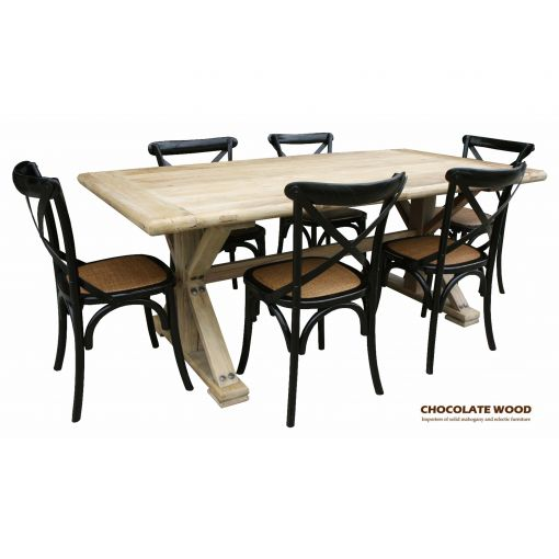 Elm Solid timber dining set with 6 cross back dining chairs