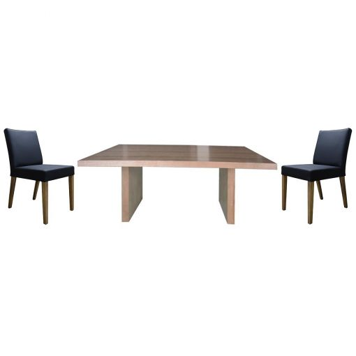 Buxt 7 Piece Victorian Ash Timber Dining Table Set, 190cm, with Black Chairs