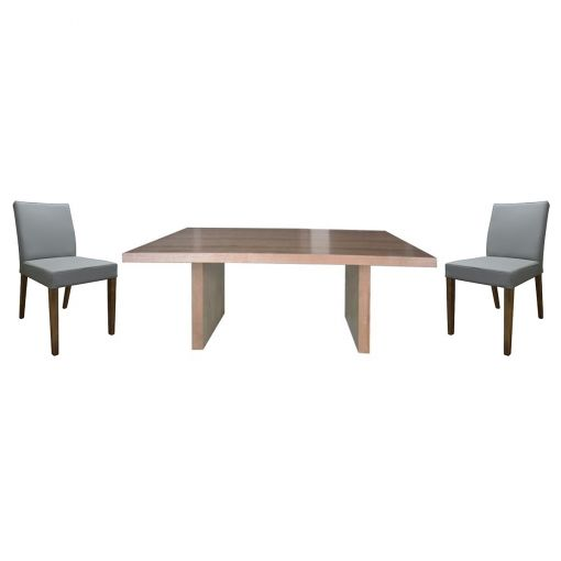Buxt 7 Piece Victorian Ash Timber Dining Table Set, 190cm, with Grey Chairs