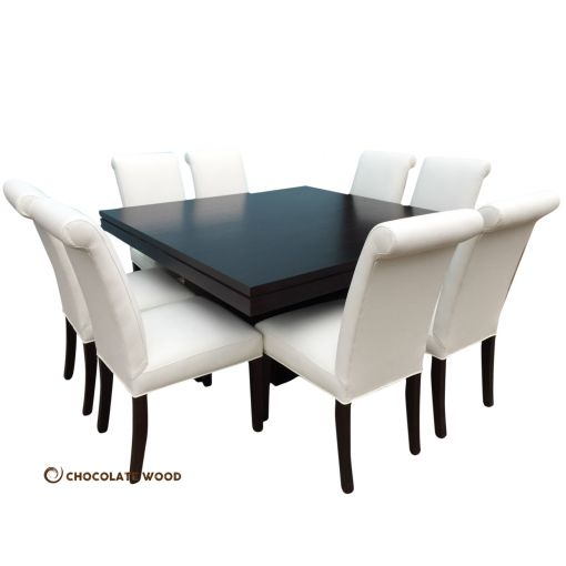 CUSTOM MADE   Taylor Australian Made Tassie Oak 150cm Square Table Set with leather chairs