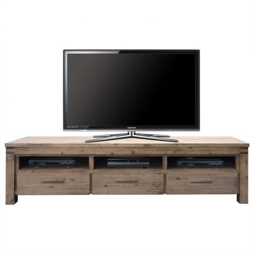 Vermont Solid Acacia Timber 3 Drawer 200cm TV Unit