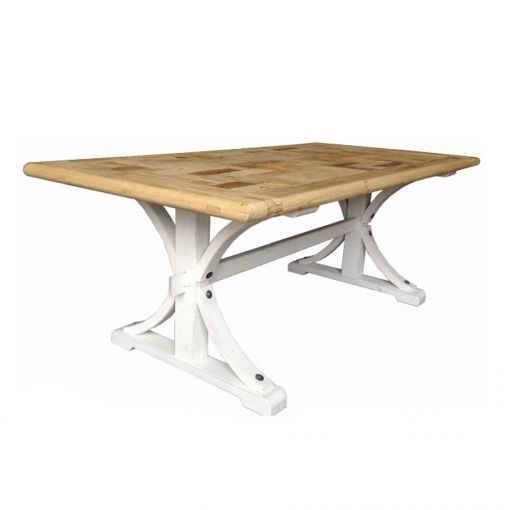 Brussels Dining Table Rectangle – Natural Top & White Base – 2 Sizes