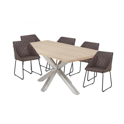 MESSI DINING SET - STAINLESS STEEL LEGS, NATURAL TOP TABLE + 6 BROWN DINING CHAIRS