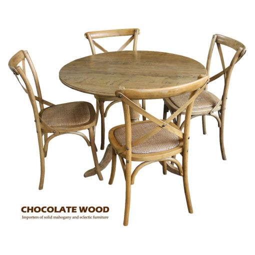 NORDIC ( D 100cm ) Stunning Solid oak round dining table with pedestal + 4 natural cross back dining chairs