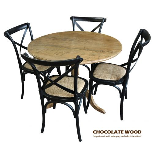 NORDIC ( D 75cm ) Stunning Solid oak round dining table with pedestal + 2 black cross back dining chairs