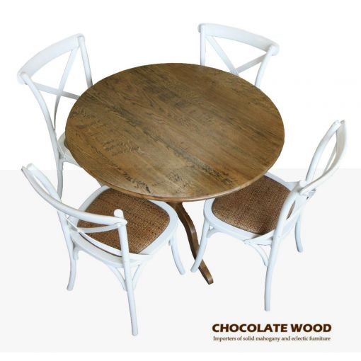 NORDIC ( D 75cm ) Stunning Solid oak round dining table with pedestal + 2 white cross back dining chairs