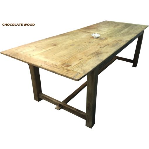 FARMHOUSE RUSTIC PROVINCIAL DINING TABLE (184CM) LACQUER FINISH