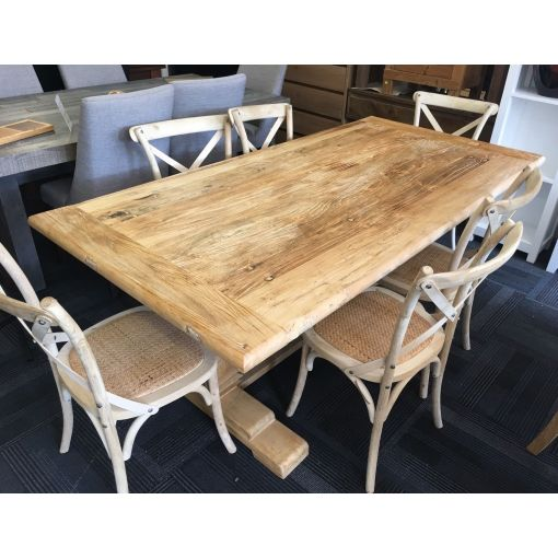 Recycled Elm Dining Table & 6 Cross Back Chairs