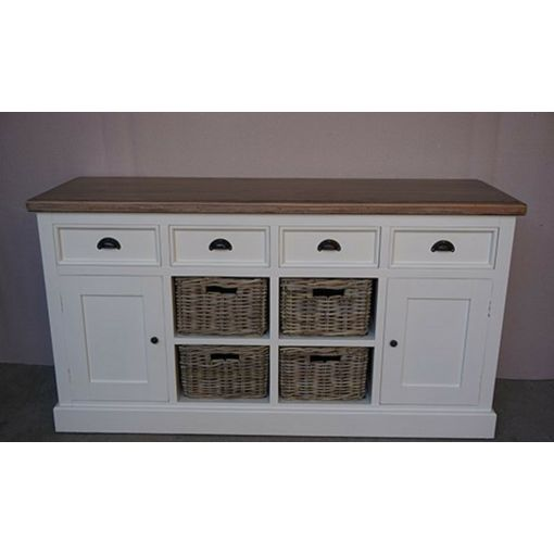 SHEBA 3-DRAWER 2-BASKET SIDEBOARD / BUFFET - WHITE/NATURAL 125CMS