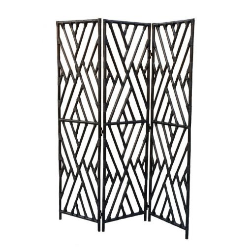 Rattan Pole Partition/ Room Divider /Wall Divider/Dressing Screen - Black/White