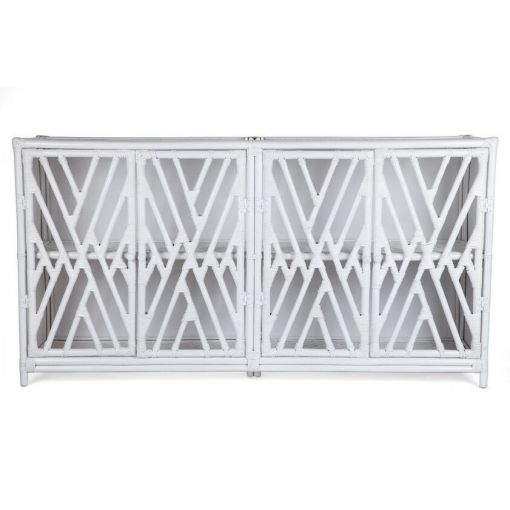 JORJI RATTAN CABINET/CUPBOARD/ LIQUOR CABINET - 4 DOORS - SOLID BLACK OR WHITE